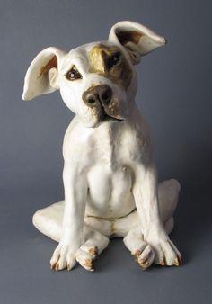 """sad pup"" dog sculpture by Joanne Cooke 2012"