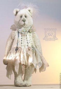 Купить Сесилия (Cecilia) мишка тедди - белый, мишка тедди, ручная работа, арт-объект