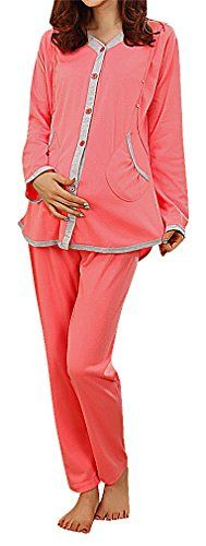 USR Womens Pocketed Button Up Maternity Breastfeeding Long Sleeve Pajama Set Pink M ManufacturerL Maternity Sleepwear, Long Sleeve Pyjamas, Bra Lingerie, Breastfeeding, Pajama Set, Button Up, Lovers, Sexy, Pink