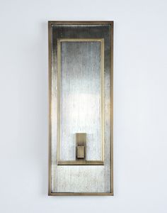 Harrington Sconce by Fuse Lighting. Light Antique Brass with Antiqued Ribbed Mirror. Also available with a bulb diffuser (not shown). Antique Lighting, Sconce Lighting, Cool Lighting, Lighting Concepts, Lighting Design, Luminaire Applique, Wall Lights, Ceiling Lights, Wall Sconces