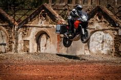 Getting some air on the KTM 1190 Adventure