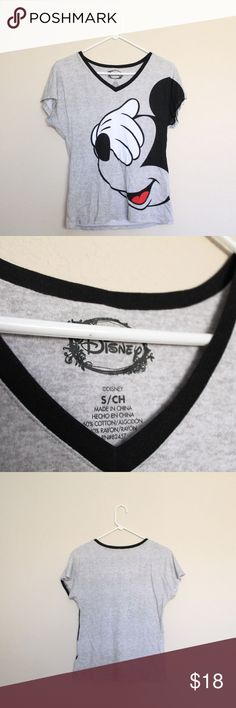 """Disney Mickey Mouse Gray T-Shirt Grey and black short sleeve Mickey Mouse tee in EUC. Hardly ever worn. Women's size small (the CH means """"small"""" in spanish, not """"child"""") Disney Tops Tees - Short Sleeve"""