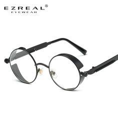 e46f080f115 EZREAL 0.0Metal Sunglasses Men Round Sunglasses Steampunk Coating Glasses  Vintage Retro Lentes Oculos of Male