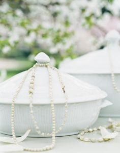 White Fluted Half Lace tureens decorated with pearls