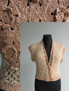 Crochet Sweater Top Sweater Jacket Lace Woman Top por MARTINELI
