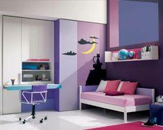 Farbgestaltung fürs Jugendzimmer – 100 Deko- und Einrichtungsideen - bunte farben  violett schüler kinderzimmer purpurrot lila