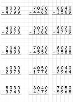 Фотография 4th Grade Math Worksheets, Printable Math Worksheets, 3rd Grade Math, Montessori Math, Homeschool Math, Math Drills, Math Subtraction, English Worksheets For Kids, Math Words
