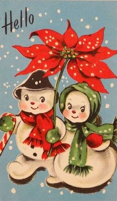 Mr and Mrs Snowman walking with a Poinsettia flower