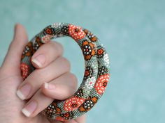 Bead crochet necklace Beadwork jewelry Japanese watercolor