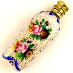 ANTIQUE FRENCH HAND PAINTED FLOWERS GILT PORCELAIN HINGED SCENT PERFUME BOTTLE