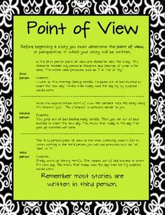 Point of View printable freebie! Perfect for Anchor Chart binders or to add to Writer's Notebooks as a reference! :)