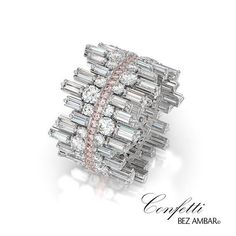 "The new, beautifully unique Bez Ambar wedding band, the baguette ""Confetti Crosswalk"".  To see more of the Confetti Crosswalk collection 