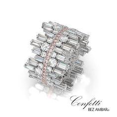 "The new, beautifully unique Bez Ambar wedding band, the baguette ""Confetti Crosswalk"". To see more of the Confetti Crosswalk collection | https://www.bezambar.com/jewelry/confetti-crosswalk-collection/ #BezAmbar #Diamonds #IDo #DesignerJewelry #WeddingBand #baguette #finejewelry"