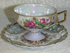 Vintage Iridescent Footed Cup & Scalloped Lace Saucer with Pink Roses Flowers & Gold Trim
