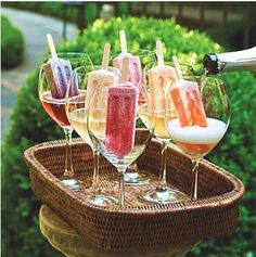Fruit popsicles + champagne or Prosecco...yum.