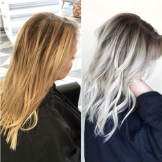 Brassy Yellow Blonde to Shadow Rooted Platinum - Olaplex - Trend Platinum Hair Makeup 2019 Shatush Hair, Brown Blonde Hair, Brassy Blonde, Icy Blonde, Blonde Color, Blonde Hair Dark Roots Balayage, Sombre Hair Color, Brassy Hair, Blonde Tips