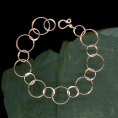 Circle Chain Bracelet, Large Copper Bracelet, Link Circles, Copper Wire, Handcrafted Metalwork Hammered Circles, Metal, Handmade Jewelry