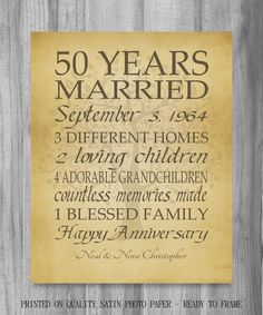 50th Anniversary Gift Golden Anniversary 50 Years Personalized Print Family Tree Keepsake Gift for Parents Customized Words by PrintsbyChristine on Etsy https://www.etsy.com/listing/201633994/50th-anniversary-gift-golden-anniversary