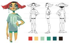 character design of a soccer girl visual development, illustration, art, digital painting Character Design Challenge, Character Design Sketches, Character Design Girl, Character Design Animation, Character Design References, Character Illustration, Illustration Art, Female Character Concept, Simple Character