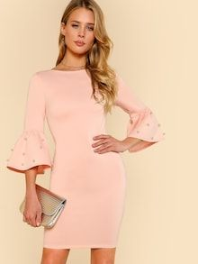 To find out about the Pearl Embellished Flounce Sleeve Dress at SHEIN, part of our latest Dresses ready to shop online today! Dress P, The Dress, Knit Dress, Sheath Dress, Dress Outfits, Casual Dresses, Bodycon Dress, Ladies Dresses, Dress Flats