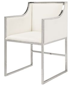 Worlds Away Anabelle White Velvet and Nickel Dining Chair