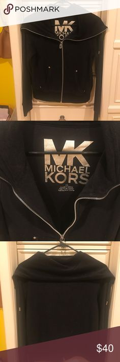 Michael Kors zip up Adorable Michael Kors zip up - it does not have a hood, it is a fold oversized collar. awesome condition!! Size x-small Michael Kors Tops Sweatshirts & Hoodies