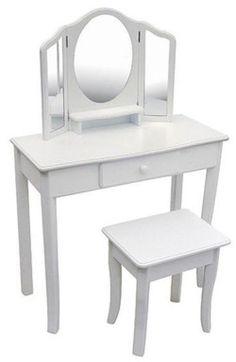 Kids Vanity Table Makeup Toddler Classic Princess Stool White Bedroom Furniture…