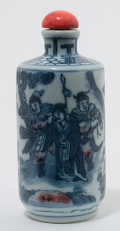 Blue & White Porcelain Snuff Bottle by Anonymous (Chinese Sculpture)