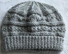New Hand Knitted Silver Grey Textured Pattern  Baby Beanie Hat  0 - 3 Months