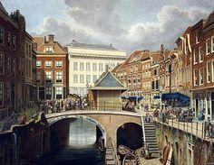 De Vismarkt 1873. Heel vroeger hadden de huizen hier een eigen visnaam: de Voorn; de Schol; de Snoek, enz.