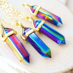 ✨updated! rainbow aura titanium quartz crystals are new & improved⚡️available in silver & gold only on www.vivamacity.com