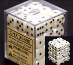 Amazon.com: Chessex Dice d6 Sets: Opaque Ivory with Black - 12mm Six Sided Die (36) Block of Dice: Toys & Games
