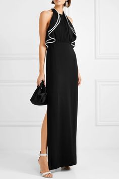 Halston Heritage - Ruffled open-back crepe de chine gown 07d217ab2