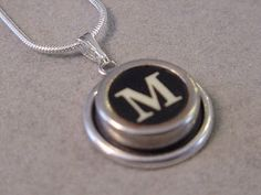 Typewriter key Jewelry Necklace  BLACK  LETTER  M  by magiccloset, $18.00