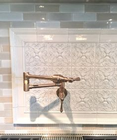 Intricate tile backsplash with potfiller and tile from Walker Zanger - Designer Donna Jarnigan Glass Front Cabinets, Refacing Kitchen Cabinets, Cabinet Refacing, Kitchen Tiles, Kitchen Design, Kitchen Backsplash Design, Kitchen Floors, Ikea Kitchen, Stove Backsplash