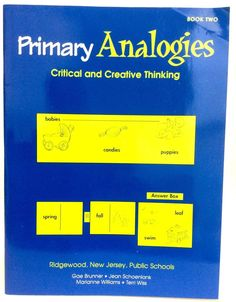 Primary Analogies Book 2 Two Critical And Creative Thinking K12 Homeschool  #WorkbookStudyGuide