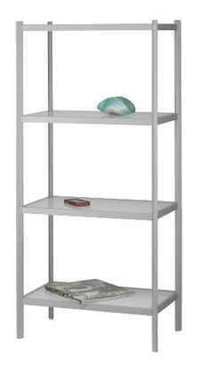 """Aspen Shelf Unit Four Shelf by Adesso. $257.04. Powder Coated with a Sanded Light Grey Finish. Tempered Glass 3/16"""" Thick. Tempered Glass Shelves. Glass Shelves are Silk-Screen Printed white on the Underside. Metal Shelving Unit. These metal shelving units are powder coated with a sanded light grey finish. The tempered glass shelves are silk-screen printed white on the underside, each 3/16"""" thick. Glass shelves: 21.75"""" Width, 11.75"""" Depth. The shelf supports are 1"""" thick. On both..."""