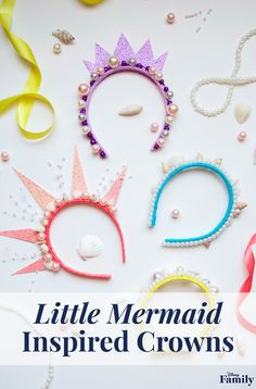 """When you """"sea"""" these DIY Mermaid Crowns inspired by Ariel's sisters, you must make them part of your world! Add shells, pearls, ribbon, and sparkly cardstock to headbands to create these bright and colorful accessories, perfect for a Little Mermaid party. Click to see the tutorial for these DIY Little Mermaid-inspired crowns."""