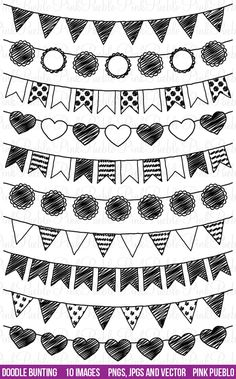 Doodle Bunting Clipart Clip Art, Doodle Flags Ribbons Banners Clipart Clip Art - Commercial and Personal Use Ribbon Banner, Doodle Drawings, Doodle Art, Doodle Ideas, Clipart, Banners, Doodle Lettering, Chalkboard Art, Bullet Journal Inspiration