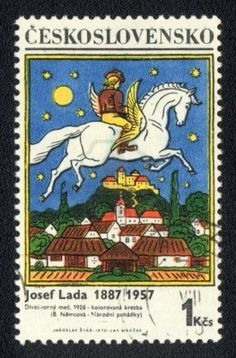Stamp: The Magic Horse by Josef Lada (Czechoslovakia) (Painter Josef Lada) Mi:CS 1824 Stamp World, Going Postal, Stamp Printing, Horse Sculpture, Vintage Stamps, Stamp Collecting, Graphic Illustration, Illustrations, Vintage Posters