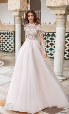 "2019 Wedding Dresses — ""Dolly"" Bridal Collection naviblue 2019 bridal long sleeves jewel neck heavily embellished bodice elegant a line wedding dress covered lace back chapel train mv -- Naviblue 2019 Wedding Dresses Dresses Elegant, Elegant Wedding Gowns, Perfect Wedding Dress, Chic Wedding, Wedding Ideas, Fall Wedding, Rustic Wedding, Wedding Ceremony, Puffy Wedding Dresses"