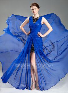 Prom Dresses - $152.99 - A-Line/Princess Scoop Neck Court Train Chiffon Prom Dress With Ruffle Lace Split Front (018044016) http://jjshouse.com/A-Line-Princess-Scoop-Neck-Court-Train-Chiffon-Prom-Dress-With-Ruffle-Lace-Split-Front-018044016-g44016