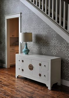 I need a stenciled wall.  It takes the place of art work.