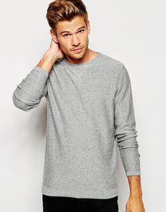 """Lightweight sweater by Selected Homme Lightweight soft-touch knit with nep Crew neck Modesty-v stitch Regular fit - true to size Machine wash 100% Cotton Our model wears a size Medium and is 6'0""""/183cm tall"""
