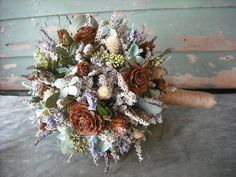 Dried flower Bridal  bouquet with Birch handle in Tiffany blue and brown.  For your woodland natural wedding. - SO pretty