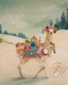 The Northern Christmas Llama Was Elusive But Generous In Nature Art by Janet Hill