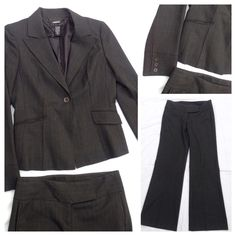 Laundry by Shelli 2 PC grey pant suit A Gorgeous suit with all the attention to detail you can expect from this premier designer. Fully lined tailored jacket with back and side seams for a tailored fit. Jacket size 8. Pants size 6. Wide band medium rise pants. Original hem. No defects.  Barely worn. Like new.  A great buy. Laundry by Shelli Segal Jackets & Coats