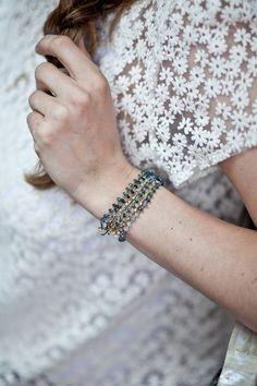 Bracciale Wrap azzurro zaffiro Ombre tessuta lungo di JayAndRenae