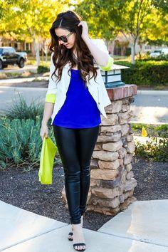 Neon yellow, blazer, royal blue, leather pants