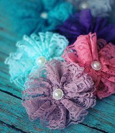 Vintage Lace Flower Clip (More Colors!)-.99 ea